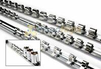 "3 Piece 1/4"" 3/8"" 1/2"" Drive Socket Rail Holder Set SAE Metric Mount Organizer"