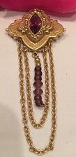 Vintage Beautiful Art Deco Amethyst Drop Victorian Brooch Pin Purple Rhinestone