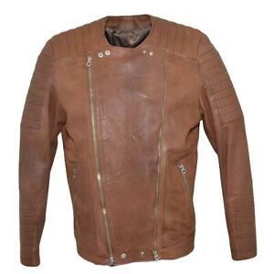 Giacca uomo giubbotto in vera pelle genuine leather di vitellino cuoio con doppi