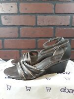 Clarks Artisan Womens 9 Brown Ankle Strap Open Toe Wedge Heels Active Air