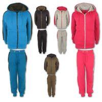 Boys Tracksuit Girls Kids Fleece Hooded Hoodie Bottom Jogging Suit Jogger 7-13Yr