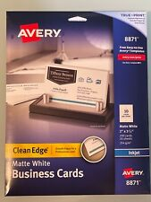 Avery 8871 200 Pcpk Clean Edge With True Print Business Cards Matte Wht New