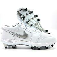 Nike Air Jordan 1 TD Low White Metallic Silver Football Cleats Men's 13