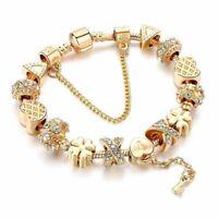 Fashion White Crystal Key Charm For Women Gold Color European Beads Bracelets