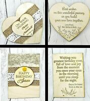 Personalised Wooden Birthday Wedding Anniversary Card Wishes Gift Double Side