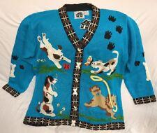 NWT Storybook Knits Womens 1X Blue Sweater Cardigan Dog Puppy HSN