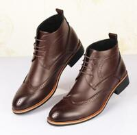 Men dress formal leather shoes oxford Brogue wing tip lace up ankle boots TAO211
