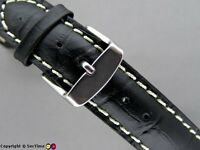Quality leather watch strap Croco ++ Black 18mm