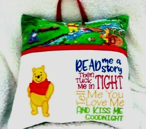 """BOOK POCKET PILLOW HANDMADE W/LICENSED WINNIE THE POOH  EMBROIDERED 16"""" X 16"""""""