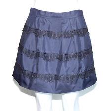 J Crew Skirt lace marvelle mini 100% silk navy blue black metallic pleat  sz 2