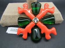 HUGE KJL Kenneth Jay Lane Coral Branch & Emerald Maltese Cross PIN NIB rv$115