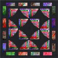 Ezy Quilt Kit/Butterfly Wings Log Cabin/Pre-cut Fabrics Ready To Sew/Batiks!***