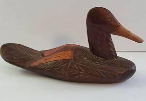 """Antique Hand Carved/ Painted Wood Folk Art Duck Decoy Bird Sculpture 10"""" Long."""