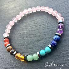 7 Chakra Rose Quartz Reiki Bracelet With Hematite - Natural Stone - UK Made