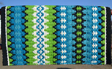 Mayatex Wool Show Saddle Blanket Pad 34x40 Black Turquoise Lime Neon Green White
