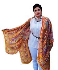 Plus Size Silk Kaftan Kimono Cape Top Beach Coverup Overlay Paisley 192 ORANGE