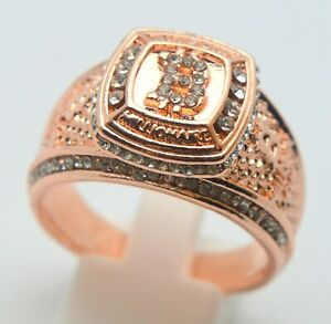 24K ROSE GOLD PLATED CRYPTOCURRENCY BITCOIN RING WITH WHITE STONES US 12 SIZE