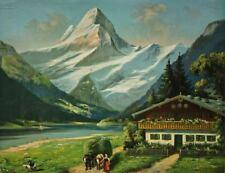 Chromolithographie de Shönian : Les Alpes Suisse dans le Canton de Bern