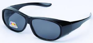 Fit Over Glasses Polarised Sunglasses Black Wrap UV400 Eye Protection