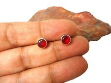 Round  RUBY  Sterling  Silver  925  Gemstone  Earrings / STUDS  -  6 mm