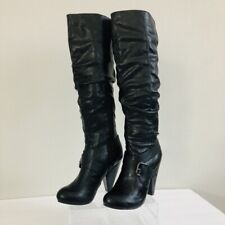 G by Guess Womens Boots 5-1/2 5.5 Medium Black GG Frantic Over Knee Cone Heel