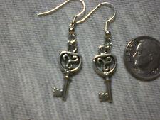 Twilight Cottage Key Celtic Twist Earrings Drop Dangle Silver