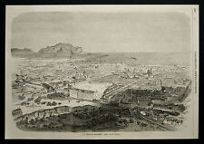 PALERMO:A VOLO D'UCCELLO.SICILIA.MISURA=CM32X23.1860..