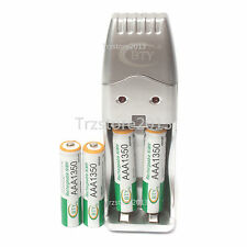 4x 1.2V AAA 1350mah NI-MH BTY Pila de Botón Recargable & AA AAA Cargador USB