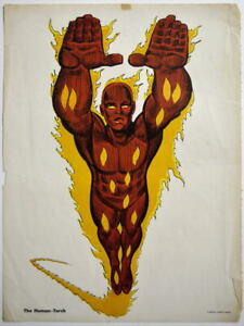 HUMAN TORCH MMMS CLUB POSTER Marvel RARE Personality Poster 1966 Marvelmania
