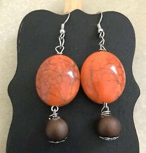 ORANGE and BROWN Wire Dangle Earrings Jewelry Set - Handmade USA