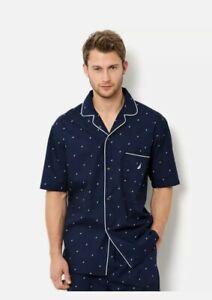 Nautica Men's Logo Signature Short Sleeve Pajama Shirt Top Blue Size XL NWOT