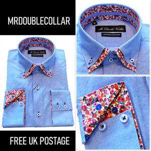 MrDoubleCollar Mens Summery Blue Floral Double Collar Shirt Free UK Postage