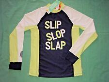 Boys Teen Long Sleeve Rashie Top Swimwear UPF 50+ Navy Green Size 14 RRP $39.95