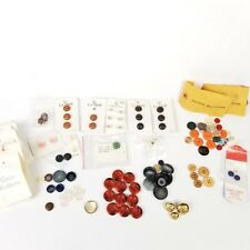 VTG Mixed Lot Of Buttons Sewing Crafts La Mode w card backing plastic metal wood