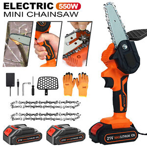"""4"""" Handheld Cordless Electric Chainsaw Battery Power Woodworking Cutter Machine"""