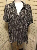 Bon Marche Size 20 Blouse Shirt Black Brown White Dashes/stripes