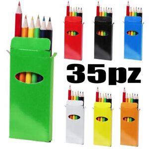 35 PEZZI Scatola colorata con 6 matite colori a pastello IDEA REGALO gad 01SD