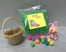 Dollhouse Miniatures Bright deLights, Easter Bunny,12 eggs, basket & grass 1:12