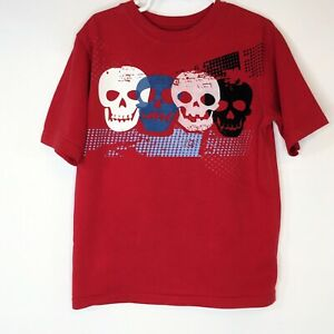 Faded Glory Halloween Skull Face Boys Graphic T Shirt Tee Size 6 Cotton Blend