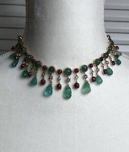 14k Multi-tone Gold Choker Necklace Natural Colombian Emerald Diamond Ruby