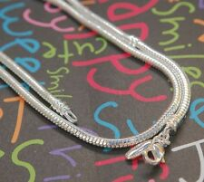 20 INCH EUROPEAN CHARM SNAKE CHAIN NECKLACE FOR BEAD SILVER LOBSTER CLASP L20