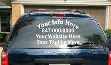 "(1) 4 Line Truck Car Vehicle Lettering Vinyl Decal Custom 13"" x 35"" Back Window"