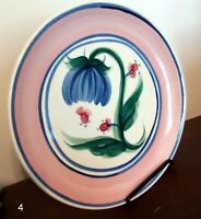 "Gail Pittman with Purple Flower and Green Steam 10"" Dinner Plate"