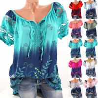UK Plus Size Womens Loose Short Sleeve Lace Floral Summer T Shirt Tops Blouse