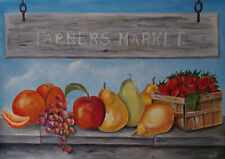 Farmer's Market Fruit painting print on linen cardstock 11 x 17