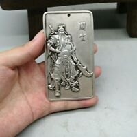 Collect Silver copper guanyu warrior God statue amulet Pendant Netsuke guan gong