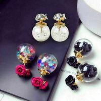 Rosen-Kristallkugel-Ohr-Geschenk Frauen-Doppelseiten Ohrring Koreanische Mode