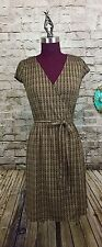 ANN TAYLOR LOFT Women's Brown Faux Wrap Dress W/ Gold Link Pattern SZ 2P