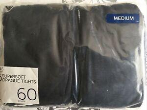 6 Pairs M&S Black Supersoft Opaque Tights 60 Denier Size Medium BNWT