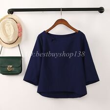 Womens Vintage Cotton Linen Blouse Shirt Flax 3/4 Sleeve Tunic Top Loose Tops
